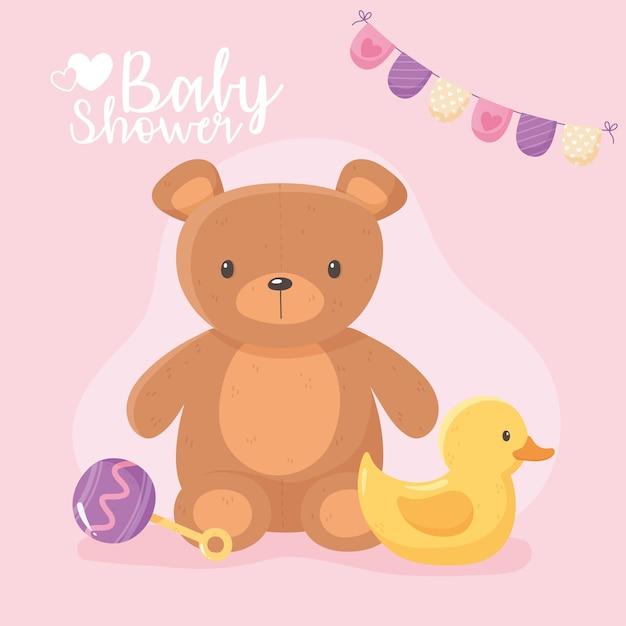 Chá de bebê, brinquedo infantil, urso de pelúcia, pato e ilustração de chocalho