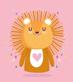 Chá de bebê, cartão de comemoração do animal bonito do leãozinho