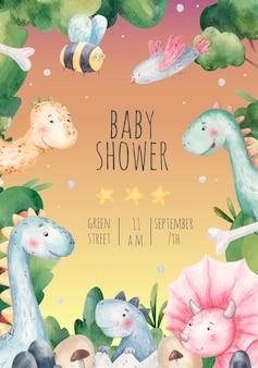 Chá de bebê, cartão de convite de férias para crianças com dinossauros fofos, natureza, ilustração em aquarela