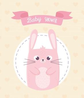 Chá de bebê, cartão de fita de decoração coelho rosa