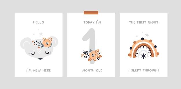 Chá de bebê, cartões de marco com rato animal bebê, arco-íris. cartão de aniversário do mês do berçário