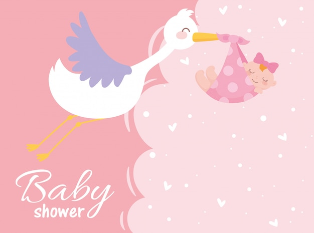 Chá de bebê, cegonha com a menina boas-vindas cartão de celebração do recém-nascido Vetor Premium