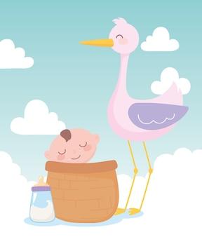 Chá de bebê, cegonha e garotinho na cesta, festa de boas-vindas ao recém-nascido