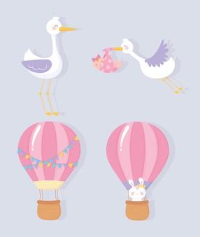 Chá de bebê, cegonha fofa menina coelho balão de ar quente bem-vindo ícones de celebração