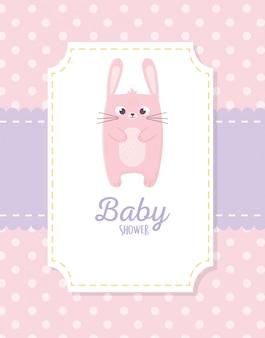 Chá de bebê, coelho rosa adesivo cartão de decoração
