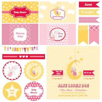 Chá de bebê com elementos de design de álbum de recortes