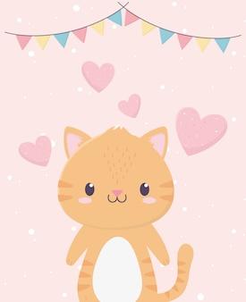 Chá de bebê cute gatinho corações amor buntings decoração