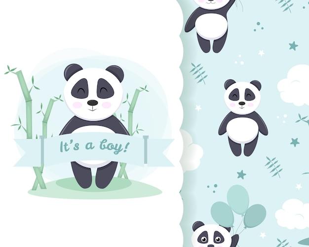 Chá de bebê de modelos para menino. chuveiro em cartão azul claro pastel