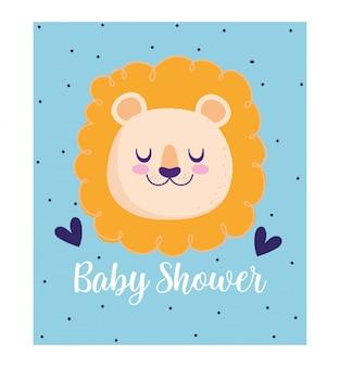 Chá de bebê, desenho animado bonito com corações de animais de leão, cartão de convite de tema com fundo pontilhado