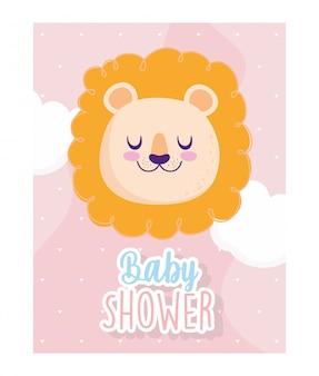 Chá de bebê, desenho animado de fundo de corações de nuvens de leão com rosto bonito, cartão de convite de tema