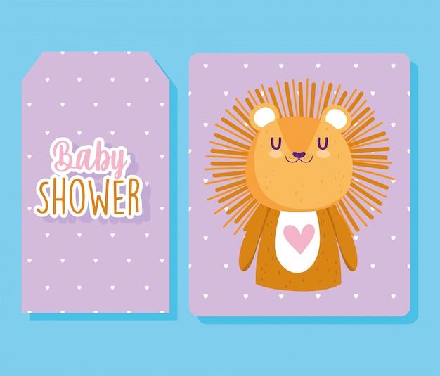 Chá de bebê, desenho de animal de leão fofo banner com fundo roxo pontilhado