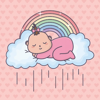 Chá de bebê, dormir, menina, nuvem, arco íris