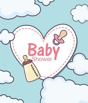 Chá de bebê e mamadeira