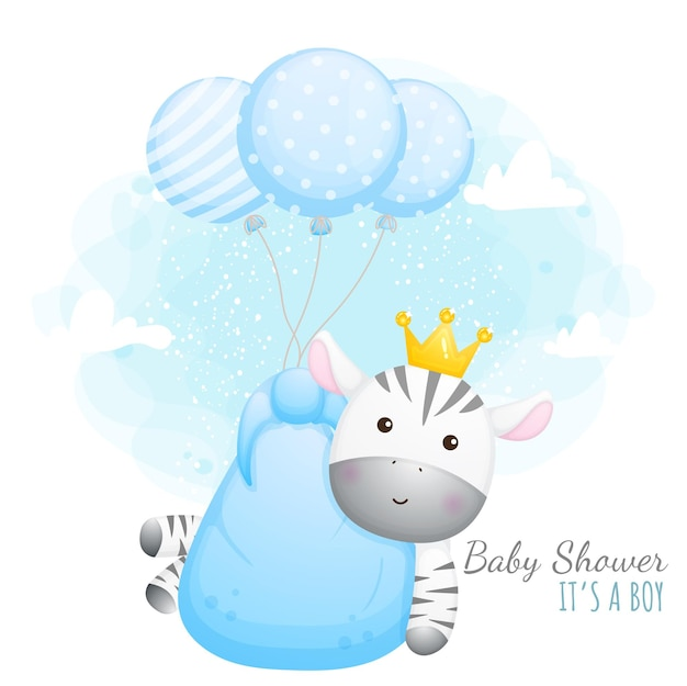 Chá de bebê é um menino. zebra bebê fofa com balões