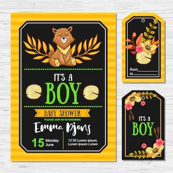 Chá de bebê fofo com urso para os meninos. cartão e tags
