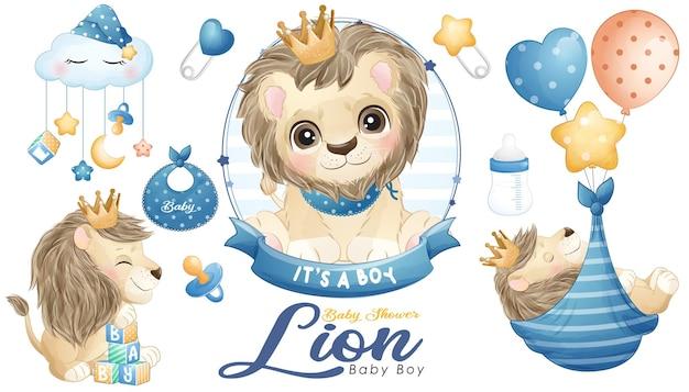 Chá de bebê fofo doodle de leão com conjunto de ilustração em aquarela