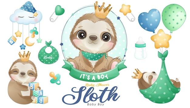 Chá de bebê fofo doodle preguiça com conjunto de ilustração em aquarela