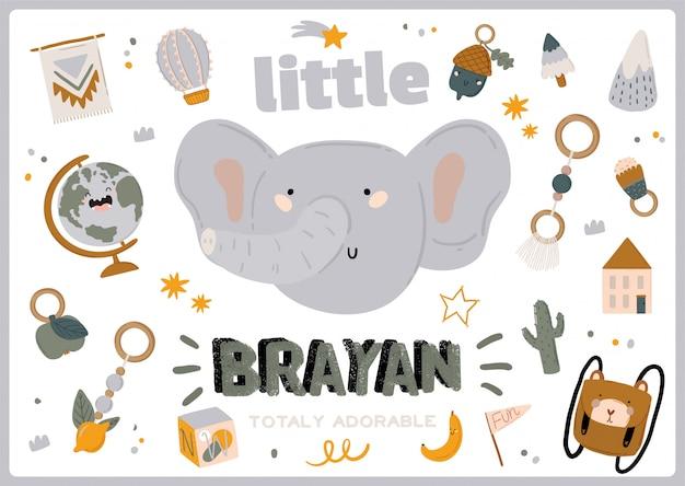 Chá de bebê fofo em estilo escandinavo, incluindo citações da moda e elementos decorativos desenhados à mão de animais legais. desenhos animados doodle ilustração infantil para decoração de berçário, crianças