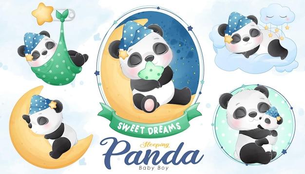 Chá de bebê fofo panda adormecido com conjunto de ilustração em aquarela Vetor Premium