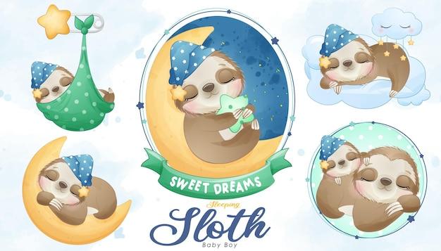 Chá de bebê fofo, preguiça adormecida com conjunto de ilustração em aquarela
