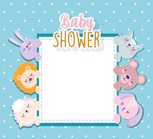 Chá de bebê leão fofo coelho gato urso ovelha cartão convite ilustração vetorial