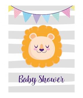 Chá de bebê, lindo rosto de leão flâmulas decoração desenho animado, cartão de convite de tema