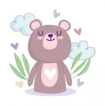 Chá de bebê, lindo ursinho de pelúcia corações nuvens folhas decoração desenho animado