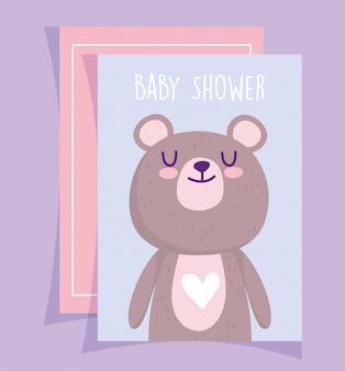 Chá de bebê, lindo urso de pelúcia com cartão de convite de desenho animado de coração