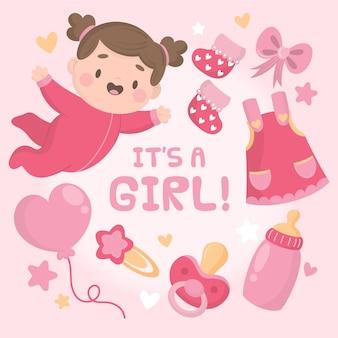 Chá de bebê menina design plano