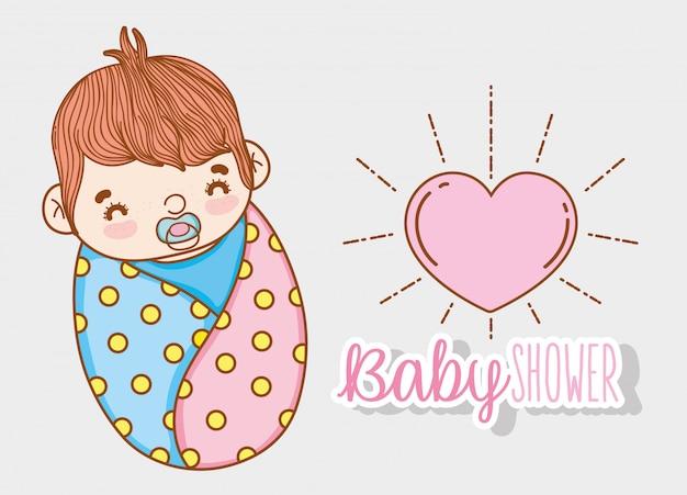 Chá de bebê menino com chupeta e coração