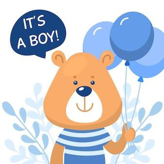 Chá de bebê menino com urso