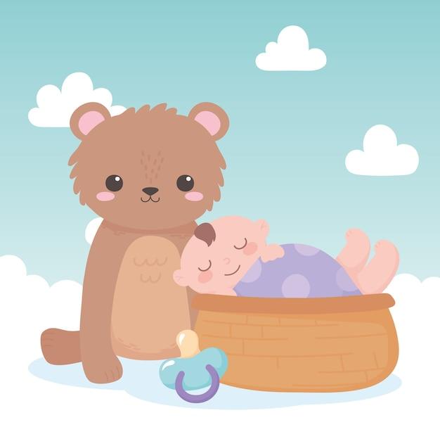 Chá de bebê, menino na cesta com ursinho de pelúcia e chupeta, festa de boas-vindas ao recém-nascido