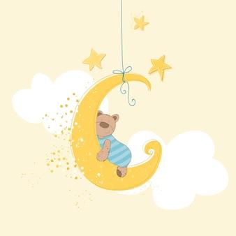 Chá de bebê ou cartão de chegada bebê urso dormindo
