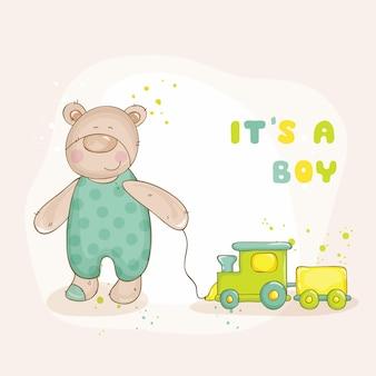 Chá de bebê ou cartão de chegada com bebê urso