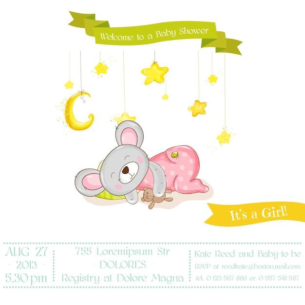 Chá de bebê ou cartão de chegada - menina rato