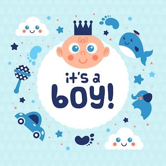 Chá de bebê para menino com brinquedos