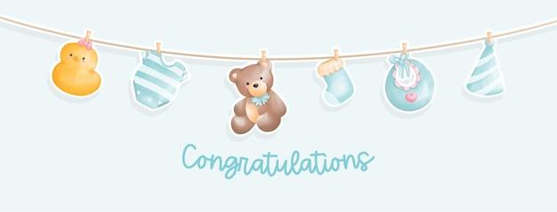 Chá de bebê, parabéns bebê recém-nascido.