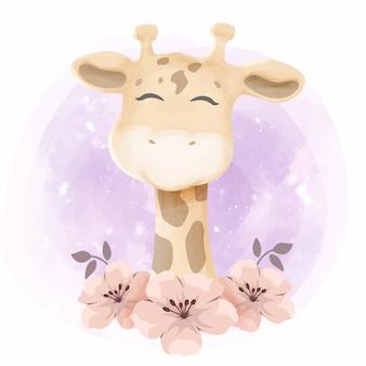 Chá de bebê pequeno girafa bonito