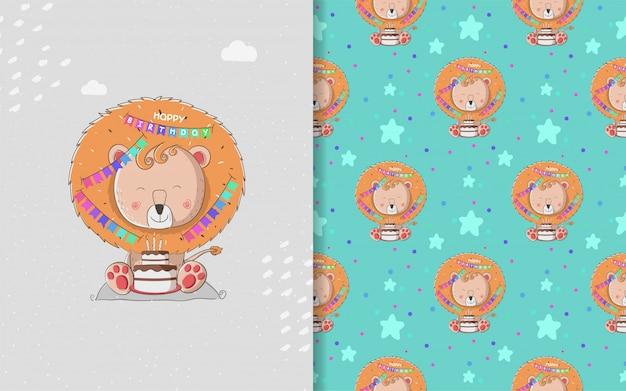 Chá de bebê pequeno leão e padrão sem emenda