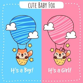 Chá de bebê raposa fofa é um menino e é uma menina Vetor Premium