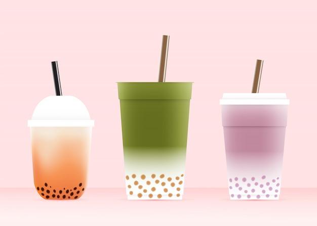 Chá de bolha com vários copos em ilustração em vetor esquema de cor pastel
