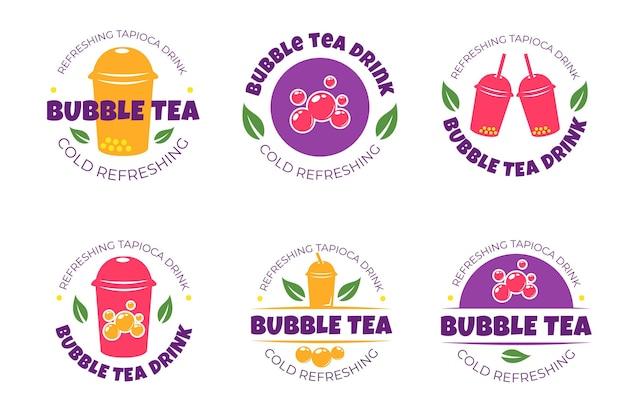 Chá de bolha de coleção de logotipo