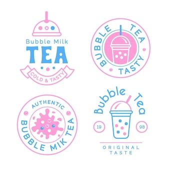 Chá de bolha de design de coleção de logotipo