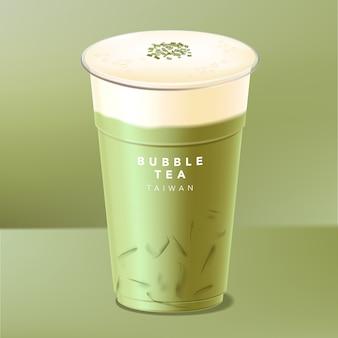 Chá de bolha gelado de taiwan, chá verde, matcha com creme, queijo ou tampa de leite