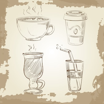 Chá de café de mão desenhada e limonada