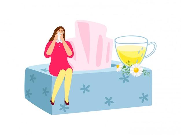 Chá de camomila sedativa natural. mulher chorando plana, caixa de guardanapos, margaridas, xícara de chá