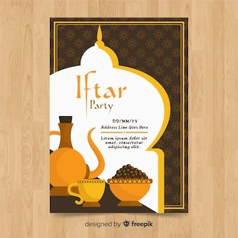 Chá de convite de festa plana iftar e comida