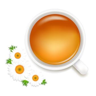 Chá de ervas com camomila, no fundo branco, ilustração