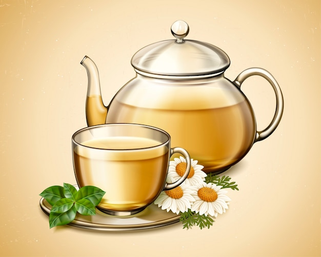 Chá de flor de camomila em bule de vidro