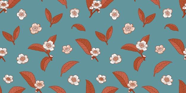 Chá de flores e folhas hortelã escura e marrom padrão sem emenda
